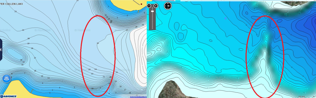 Points that only show up on the Insight Genesis map can be key spots for holding fish.