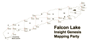Falcon Lake split into 1mile  grids for community mapping