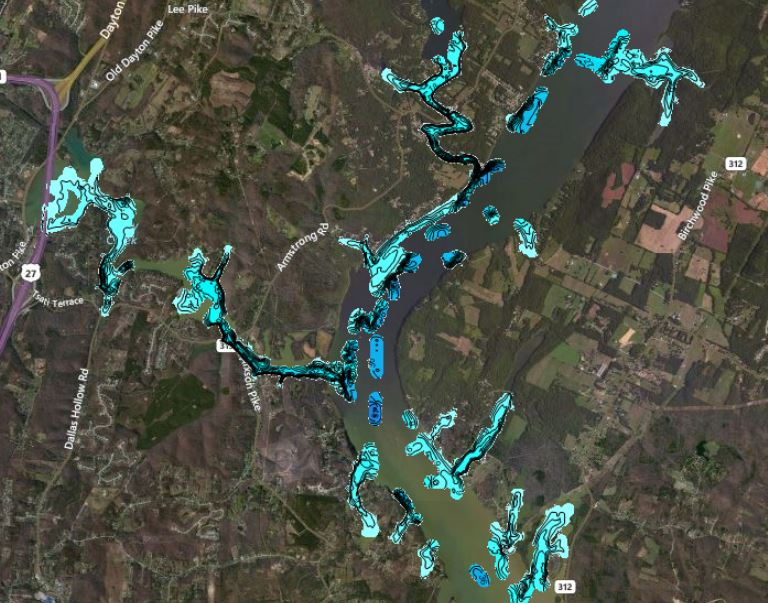 Chickamauga mapping party will give flw college for Lake chickamauga fishing map