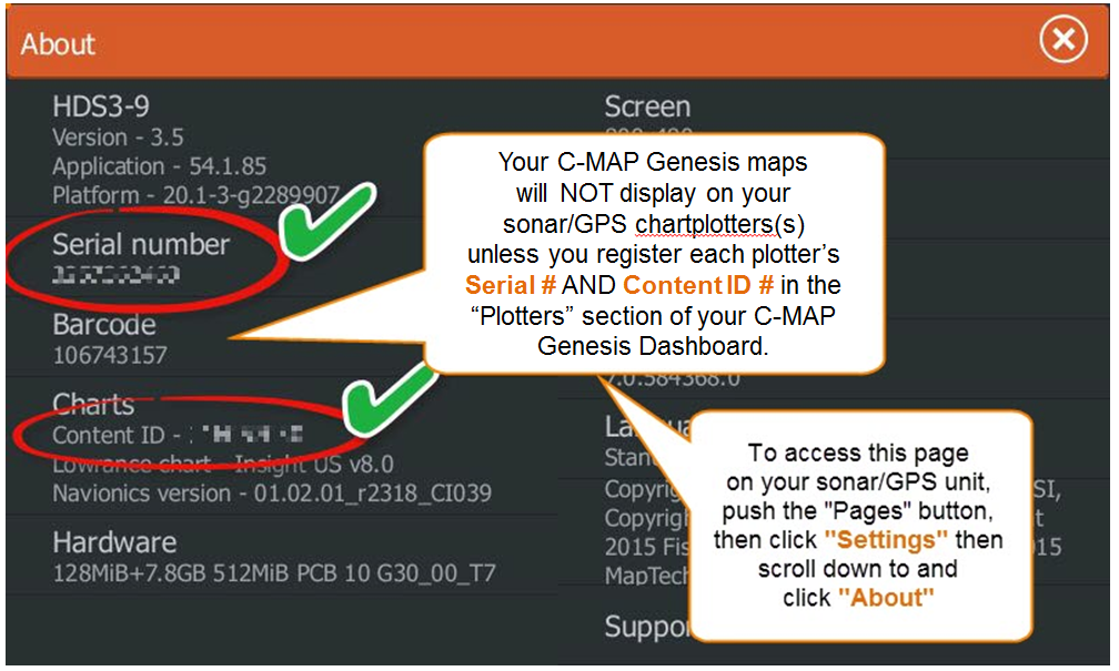 How to register your sonar/GPS unit(s) to be able to display C-MAP