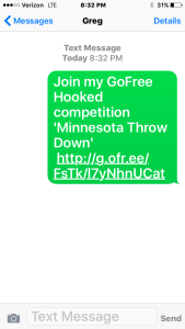 Text Invite to Hooked App tourney