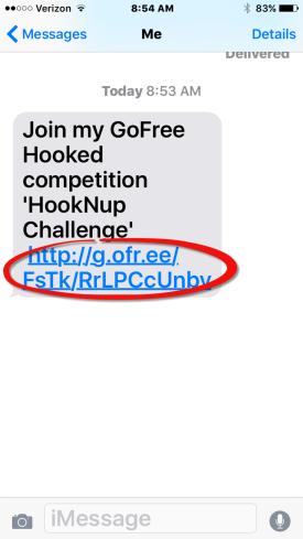 Text enroll invite screengrab RED CIRCLE